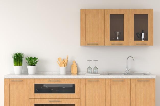 Bancada de cozinha moderna branca com pia para
