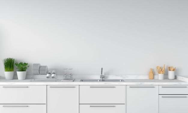 Bancada de cozinha moderna branca com pia