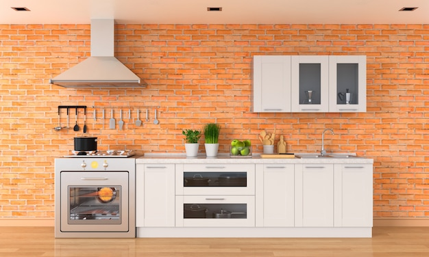 Bancada de cozinha moderna com fogão a gás e pia