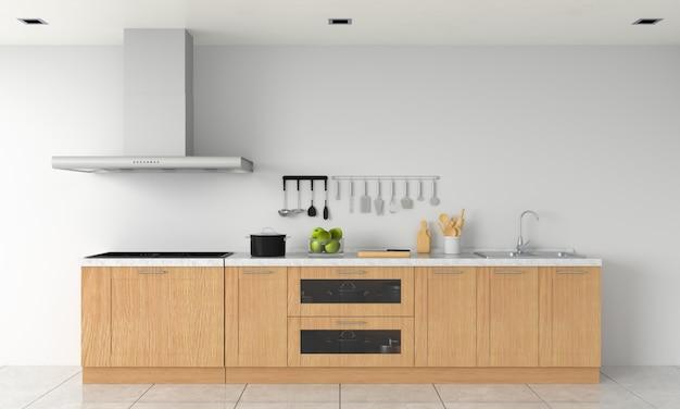 Bancada de cozinha moderna e fogão elétrico de indução para maquete