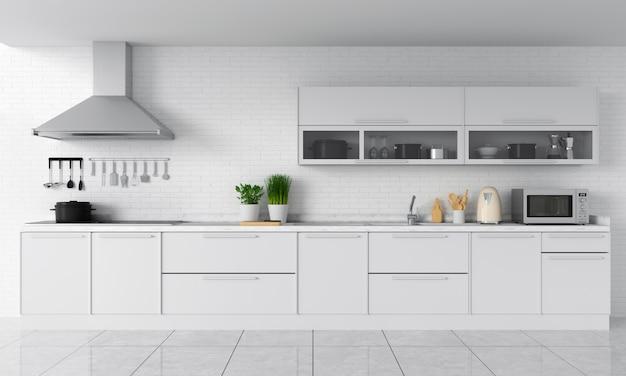 Bancada de cozinha moderna e fogão elétrico de indução