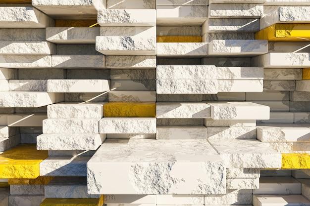 Bancada de produtos de mármore em ruínas com blocos cinza e amarelos desordenados ao fundo