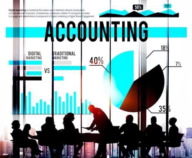 Bancário de negócios de contabilidade budge conceito de mercado de finanças