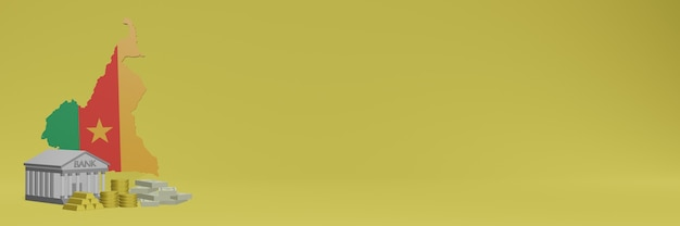 Banco com moedas de ouro em camarões para capas de plano de fundo de tv e sites de mídia social pode ser usado para exibir dados ou infográficos em renderização 3d.