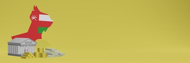 Banco com moedas de ouro em omã para coberturas de plano de fundo de tv e site de mídia social pode ser usado para exibir dados ou infográficos em renderização 3d.