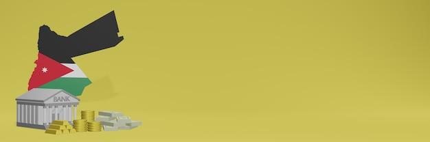 Banco com moedas de ouro na jordânia para capas de plano de fundo de tv e site de mídia social pode ser usado para exibir dados ou infográficos em renderização 3d.