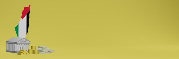 Banco com moedas de ouro na palestina para capas de plano de fundo de tv e site de mídia social pode ser usado para exibir dados ou infográficos em renderização 3d.
