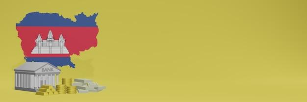 Banco com moedas de ouro no camboja para capas de plano de fundo de tv e site de mídia social pode ser usado para exibir dados ou infográficos em renderização 3d.