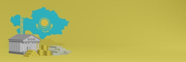 Banco com moedas de ouro no cazaquistão para capas de plano de fundo de tv e site de mídia social pode ser usado para exibir dados ou infográficos em renderização 3d.