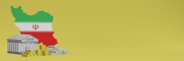 Banco com moedas de ouro no irã para capas de plano de fundo de tv e site de mídia social pode ser usado para exibir dados ou infográficos em renderização 3d.