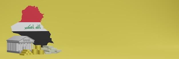 Banco com moedas de ouro no iraque para capas de plano de fundo de tv e site de mídia social pode ser usado para exibir dados ou infográficos em renderização 3d.