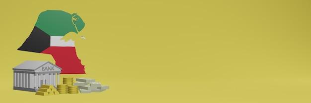 Banco com moedas de ouro no kuwait para capas de plano de fundo de tv e site de mídia social pode ser usado para exibir dados ou infográficos em renderização 3d.