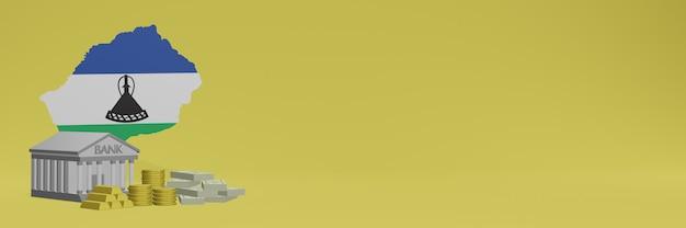 Banco com moedas de ouro no lesoto para capas de plano de fundo de tv e site de mídia social pode ser usado para exibir dados ou infográficos em renderização 3d.