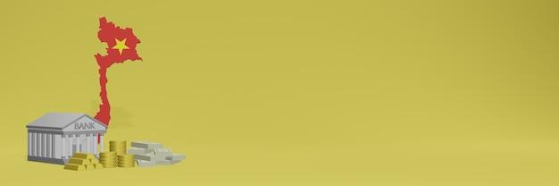 Banco com moedas de ouro no vietnã para capas de plano de fundo de tv e site de mídia social pode ser usado para exibir dados ou infográficos em renderização 3d.
