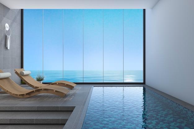Banco de madeira da cama da rendição 3d perto da opinião da associação e do mar da janela com projeto moderno
