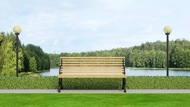 Banco de madeira no parque e vista para o lago