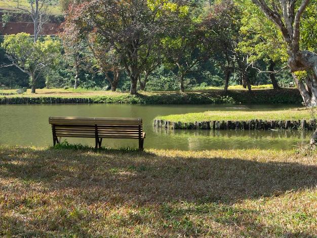Banco de madeira para relaxar ao lado do lago no parque