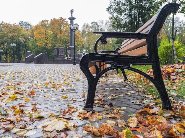 Banco de outono na cidade com as folhas caídas
