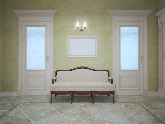 Banco elegante entre duas portas no corredor da casa cara com paredes de oliva e piso de mármore claro e duas portas e arandela.