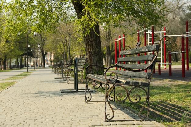 Banco no parque da cidade. dia de primavera