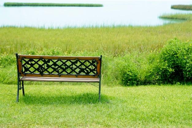 Banco sobre a grama verde no lago, metáfora de paz