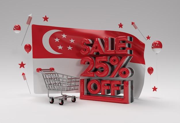 Bandeira 3d de cingapura com 25% de venda fora do conceito de banner de desconto.