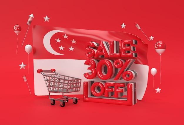 Bandeira 3d de cingapura com 30% de venda fora do conceito de banner de desconto.