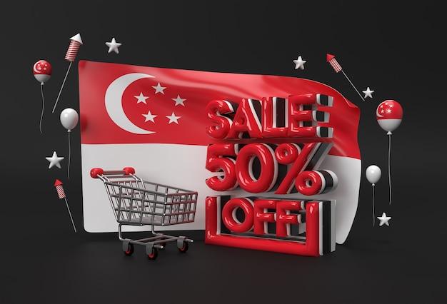 Bandeira 3d de cingapura com 50% de venda fora do conceito de banner de desconto.