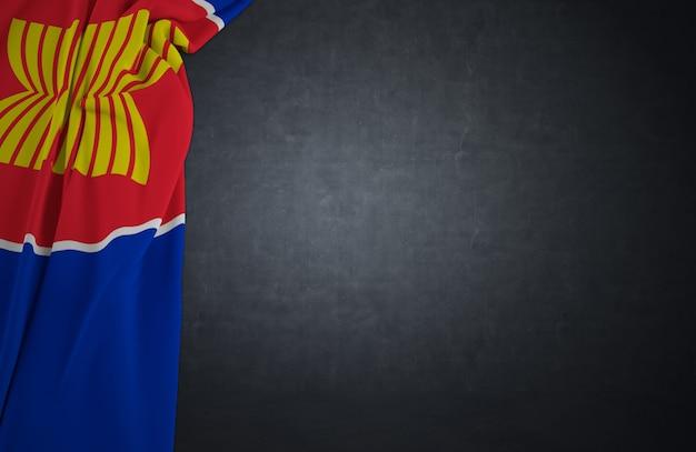 Bandeira aec de textura de tecido com textura de concreto fundo escuro