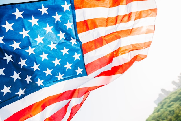 Bandeira americana, com, sol