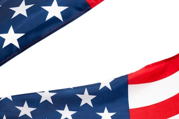 Bandeira americana como pano de fundo. vista do topo.