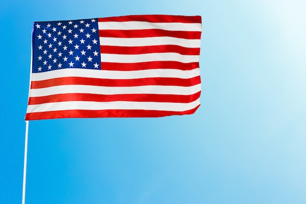 Bandeira americana, contra, céu azul