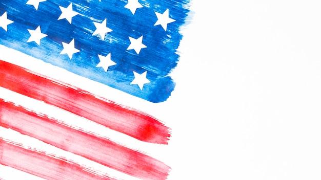 Bandeira americana dos estados unidos em listras vermelhas e azuis com estrelas no fundo branco