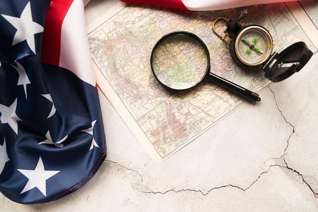 Bandeira americana, e, mapa