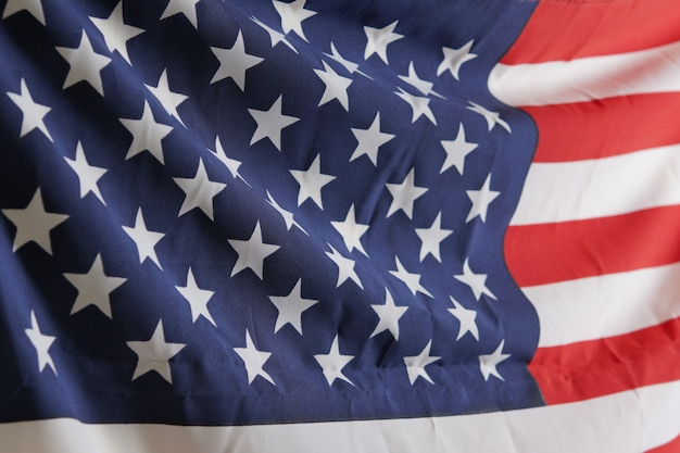 Bandeira americana (eua) para o dia do memorial em 4 de julho, fundo de dia independente
