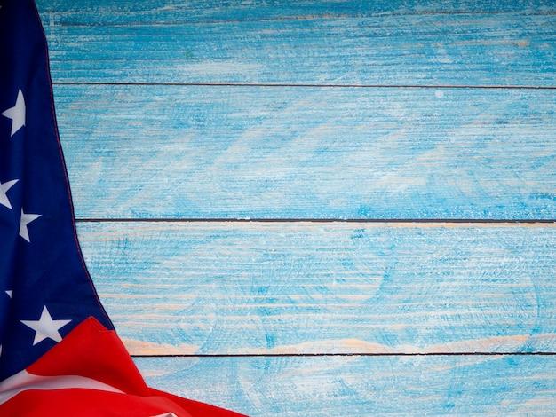 Bandeira americana, ligado, azul, madeira, fundo