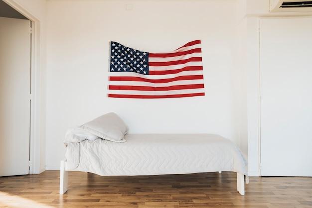Bandeira americana, ligado, parede