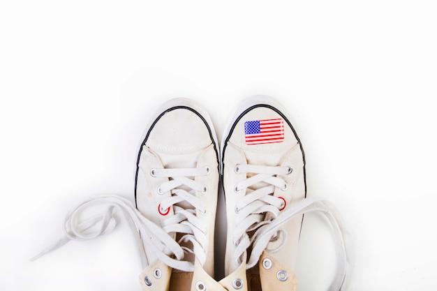 Bandeira americana, ligado, sapatos