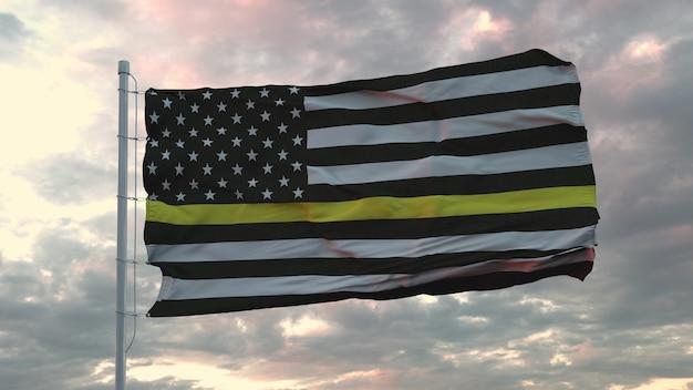 Bandeira americana thin yellow line - um sinal para homenagear e respeitar os despachantes americanos, guardas de segurança e prevenção de perdas. renderização 3d