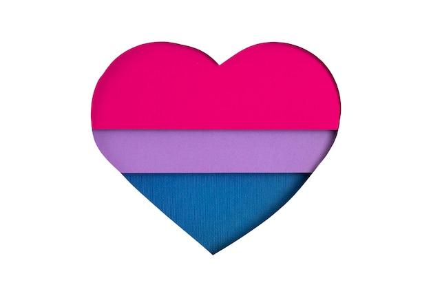 Bandeira bissexual em forma de recorte de papel com as cores azul, rosa e violeta. amor, orgulho, diversidade, tolerância, conceito de igualdade