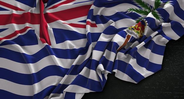 Bandeira britânica do território do oceano índico enrugada no fundo escuro 3d render