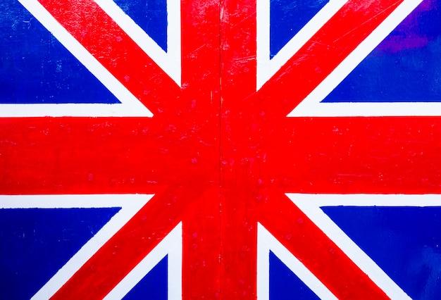 Bandeira britânica na placa de madeira