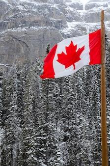 Bandeira canadense, waving, sobre, a, montanhas, de, parque nacional banff, canadá