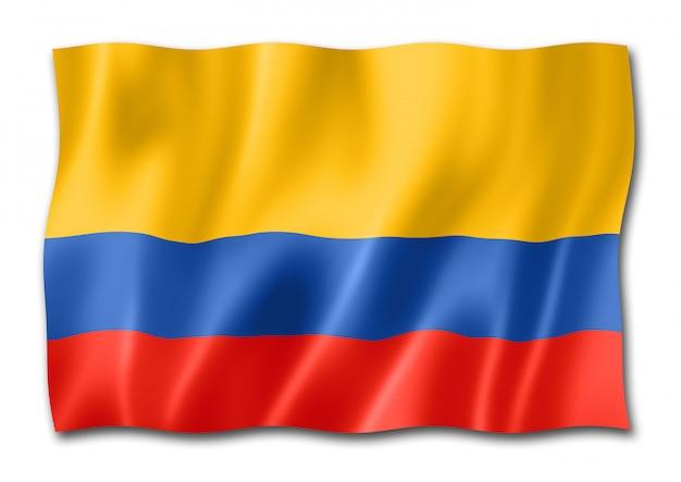 Bandeira colombiana isolada no branco