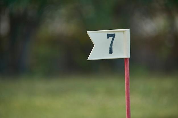 Bandeira com o número 7 utilizada na prática do golfe para marcar o buraco do número correspondente