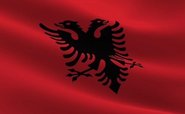 Bandeira da albânia. ilustração da bandeira albanesa acenando.