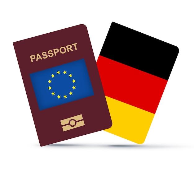 Bandeira da alemanha com passaporte