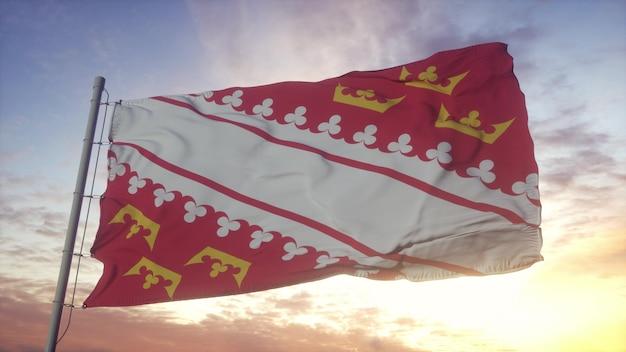 Bandeira da alsácia, frança, balançando ao vento, o céu e o sol de fundo. renderização 3d.