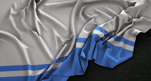 Bandeira da altai república enrugada no fundo escuro 3d render