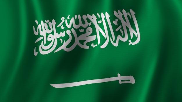 Bandeira da arábia saudita acenando renderização 3d em close-up com imagem de alta qualidade com textura de tecido